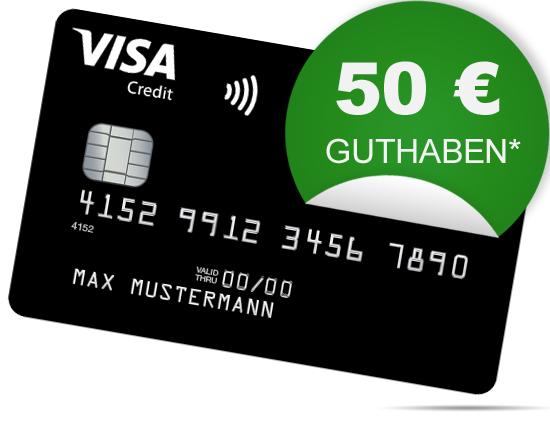 Deutschland-Kreditkarte (Visa Credit, Apple Pay, NFC): 50€ Startguthaben*