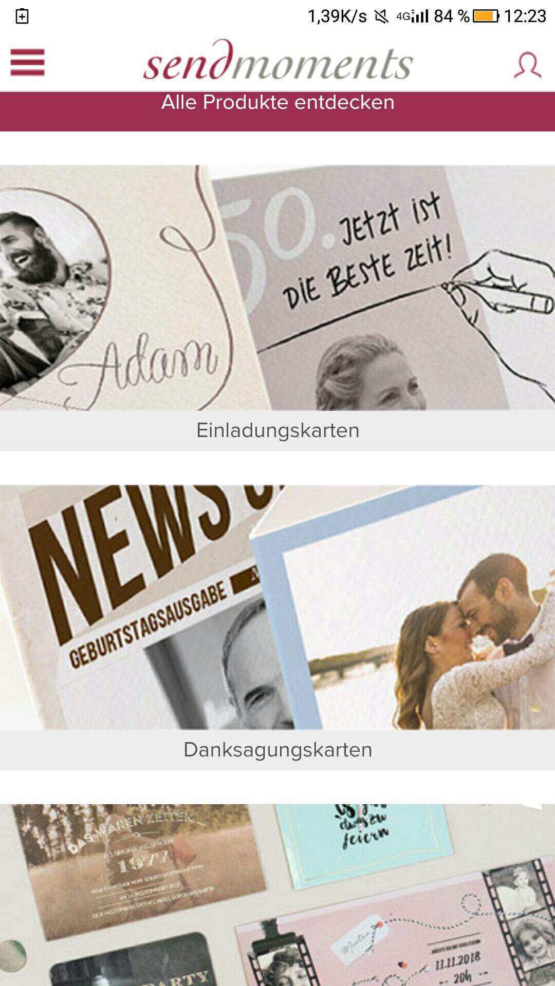 Hochzeitskarten, Einladungen, Geburtstagskarten