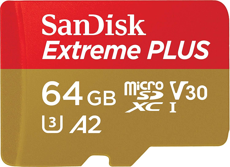 SanDisk Extreme PLUS 64 GB microSDXC Memory Card 170 MB/s, Class 10, U3, V30