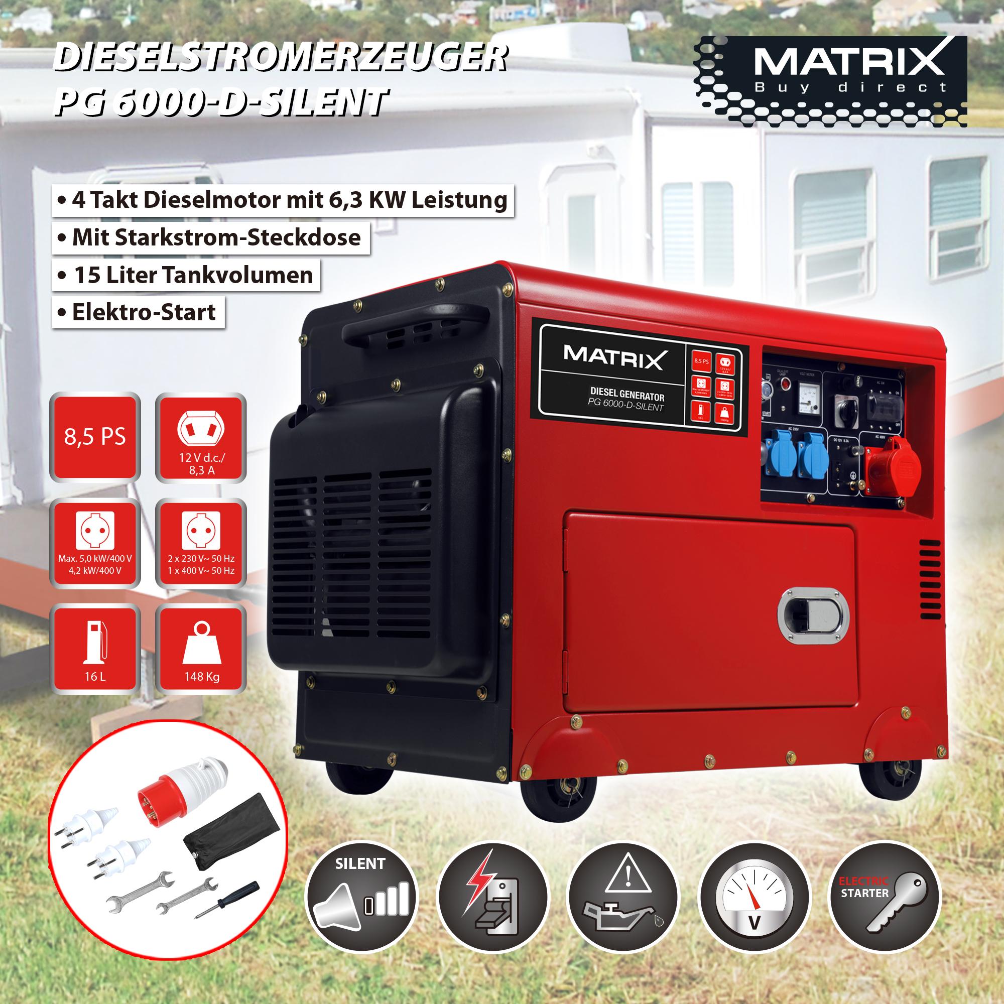 [Metro] Stromerzeuger Matrix PG6000D Silent Diesel Generator