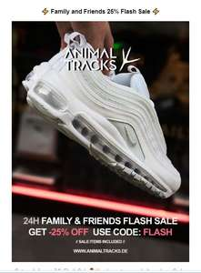 Animaltracks 25 % Rabatt Flashsale