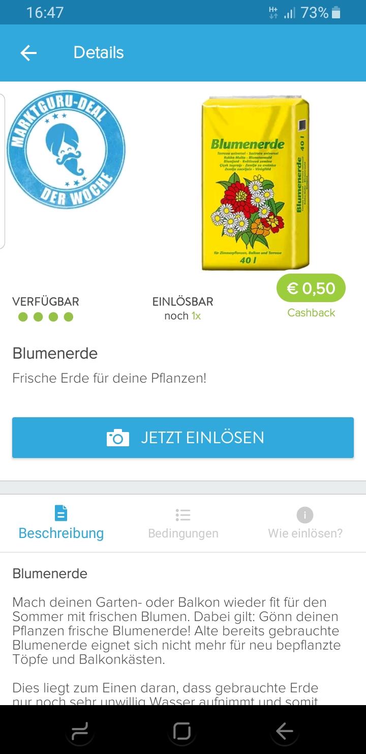 [ Marktguru ] Blumenerde  0,50€ Cashback / pro Account 1* einlösbar