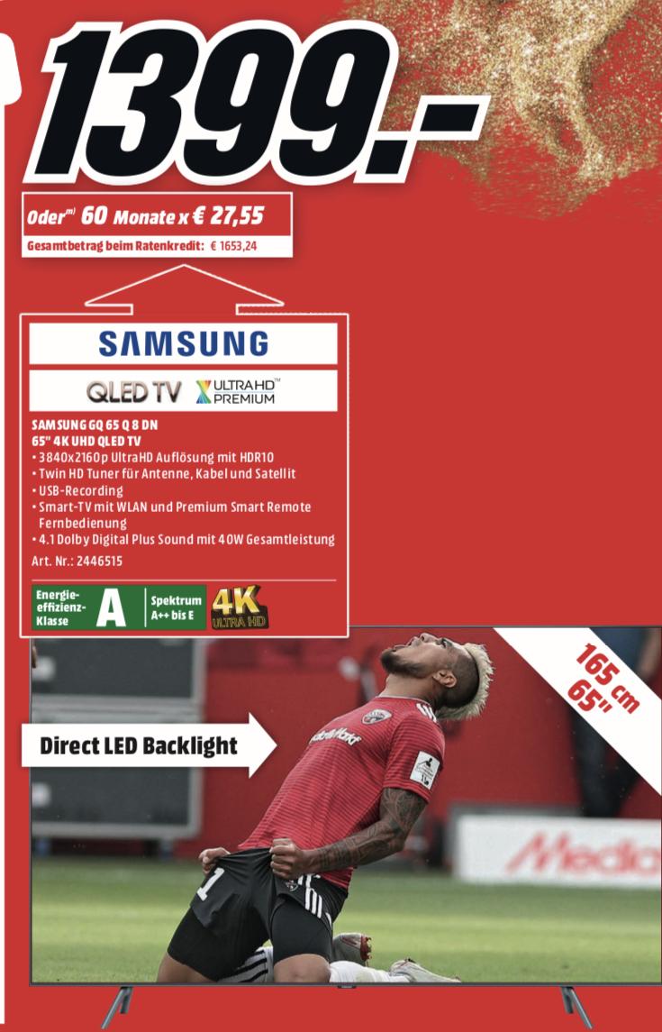 "[Lokal: Media Markt Köln City am Dom] Samsung GQ65Q8DN - 65"" QLED 4K Smart TV (VA, Direct LED, 120Hz, 10 bit, FALD)"