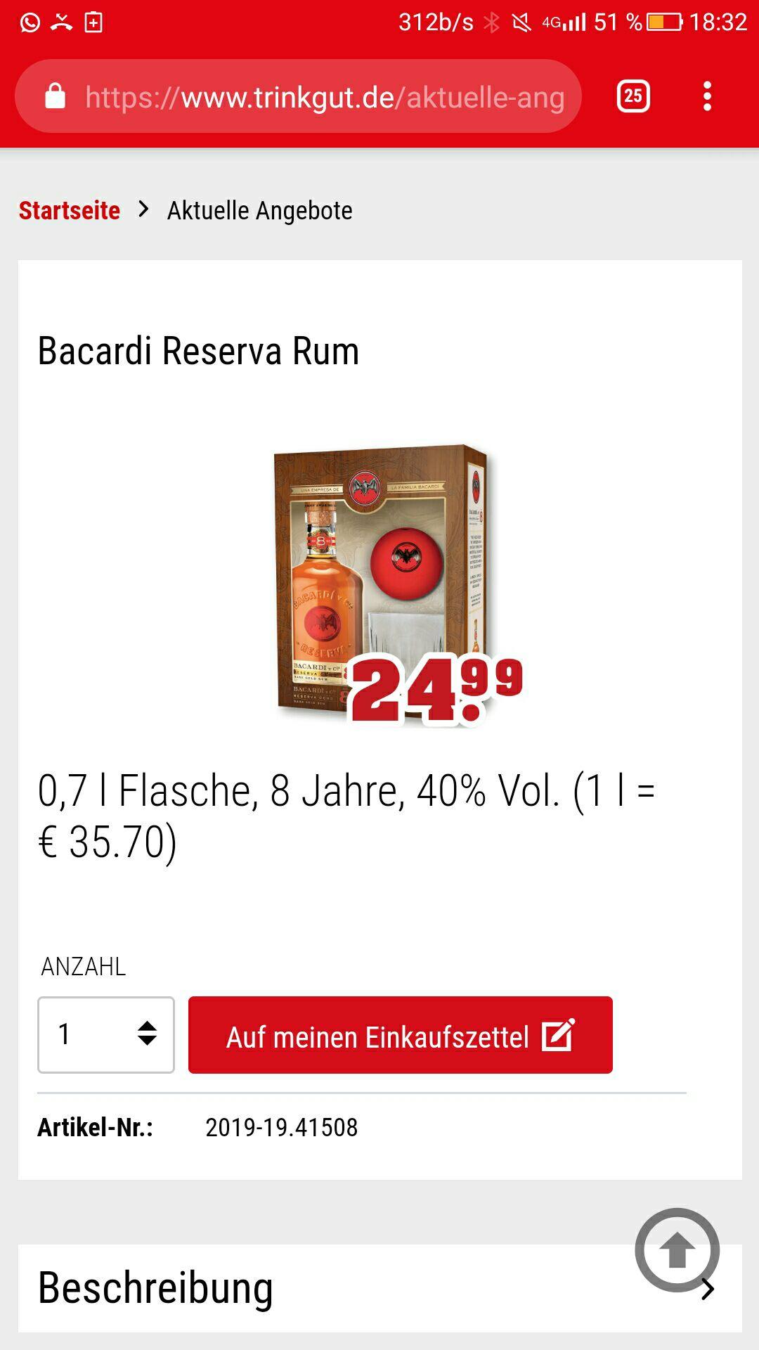 Bacardi 8 Reserva Rum mit Tumbler und Eiswürfelform in Geschenkverpackung