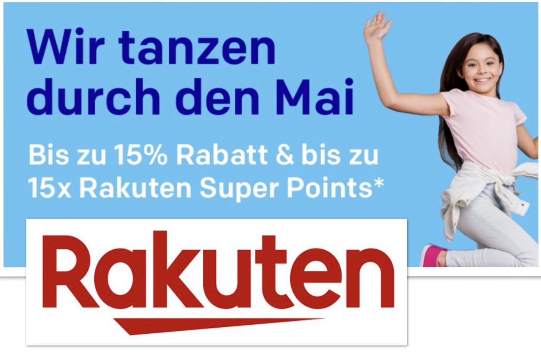 10% bzw. 15% Rabatt + 15-fache Superpunkte auf alles von Hunderten Rakuten Händlern im Mai-Sale