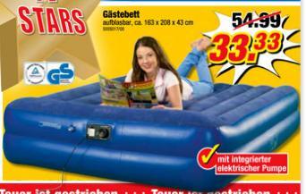 (POCO Bundesweit)Gästebett mit integrierter el. Pumpe 33,33 statt 54,99 Euro