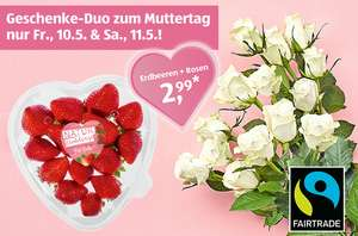 [ALDI Süd] Geschenke-Duo zum Muttertag: Schale mit Erdbeeren + 9 Rosen