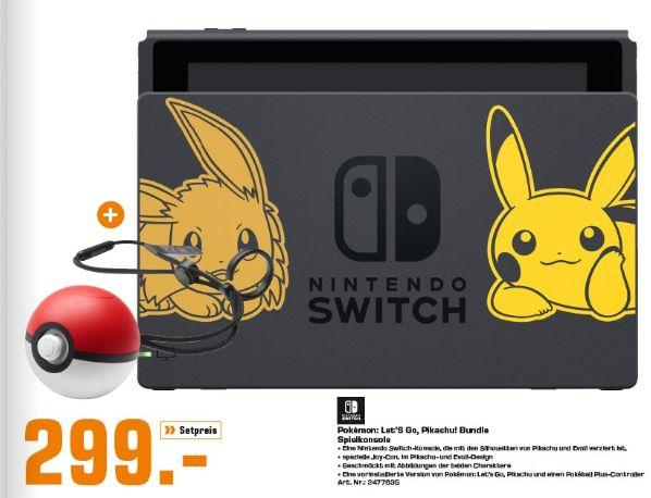 [Regional Saturn Erlangen] Nintendo Switch Pikachu & Evoli Edition + Pokémon: Let's Go, Pikachu + Pokéball Plus für 299,-€