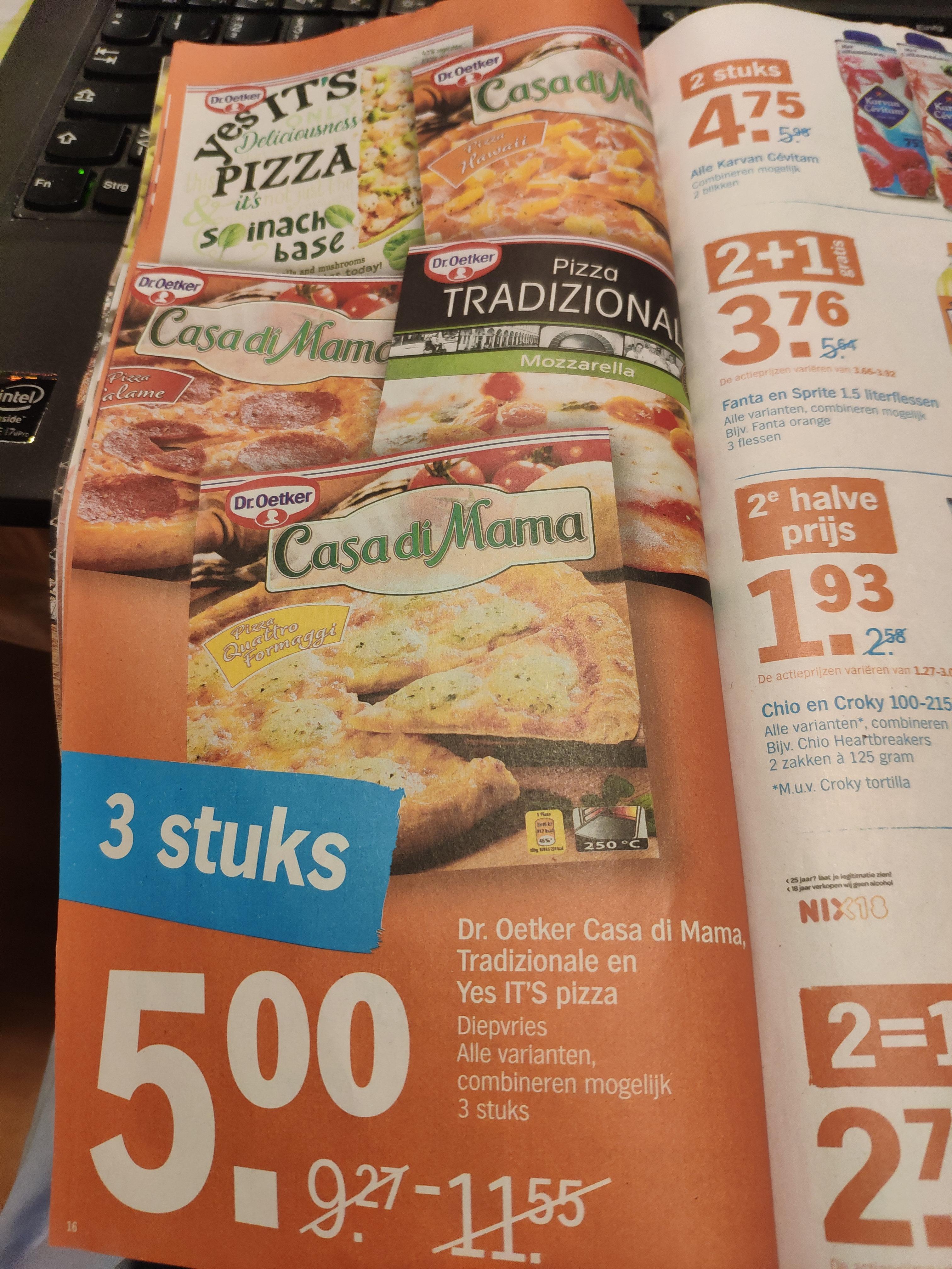Albert Heijn (Niederlande): Dr. Oetker Pizza Tradizionale, Casa di Mama (Ofenfrische) oder Yes IT'S 3 Stück für 5 €