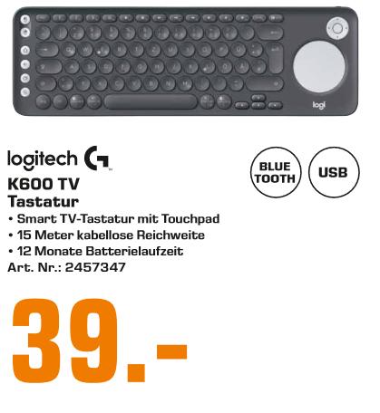 [Lokal: Saturn Hamburg & Norderstedt] Logitech K600 SmartTV-Tastatur mit integriertem Touchpad und D-Pad (Bluetooth, USB, QWERTZ) Graphit