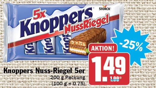 Knoppers Nussriegel in der 5er Packung (200g) für 1,49€ [HIT ab 13.5.]