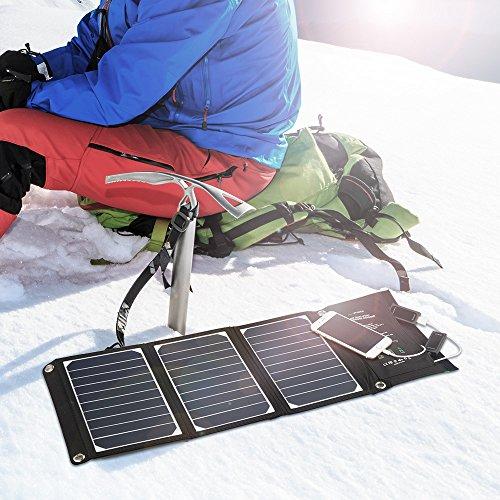 RAVPower Solar Ladegerät 16W, 2 Port USB Solarladegerät Outdoor Charger mit 21,5-23,5% Umwandlungseffizienz, Leicht, Faltbar, Wasserdicht