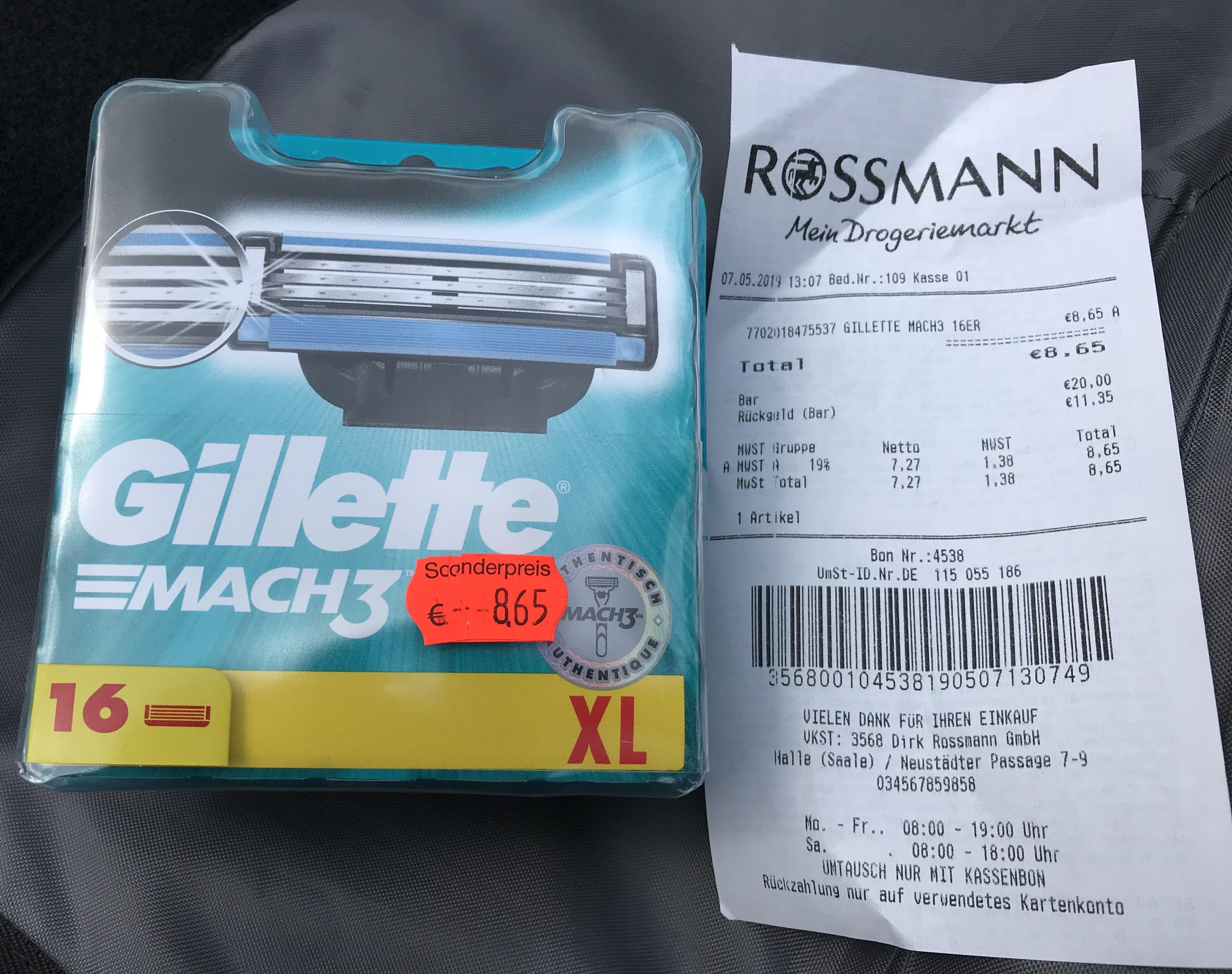 Gillette Mach 3 ***Rossmann*** Abverkauf. Ggf. Lokal Halle (Saale) Neustadt Centrum (Jobcenter)