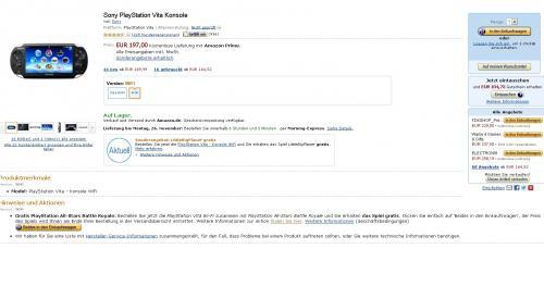 Amazon: PS Vita(Wifi) + Little Big Planet für 197€  ohne Vsk
