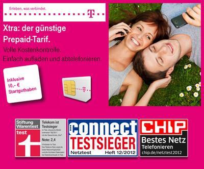 Xtra Click Telekom Prepaid-Karte mit 10€-13€ Startguthaben für 1,99€ (Für 99Cent pro Tag unbegrenzt surfen)