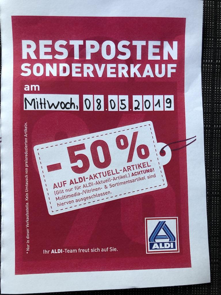 (Lokal) Aldi Nord - 50% auf alle Non-Food-Artikel in Neubrandenburg und Umgebung am 08. Mai