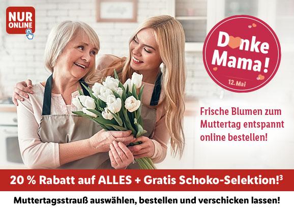 Zum Muttertag: LIDL Blumen verschicken mit 20% Rabatt plus gratis Schokolade
