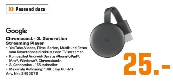[Regional Saturn Frankfurt] Google Chromecast 3 Streaming WLAN HDMI USB Mediaplayer Karbon für 25,-€