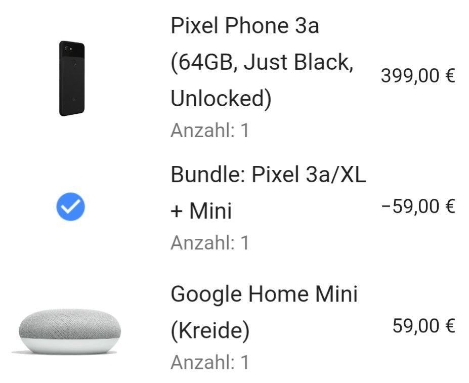 Google Pixel 3a + Google Home Minigratis