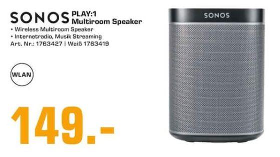 [Regional Saturn Neckarsulm/Ludwigsburg ] Sonos PLAY:1 Multiroom-Lautsprecher Multiroom, schwarz oder weiß für je  149,-€