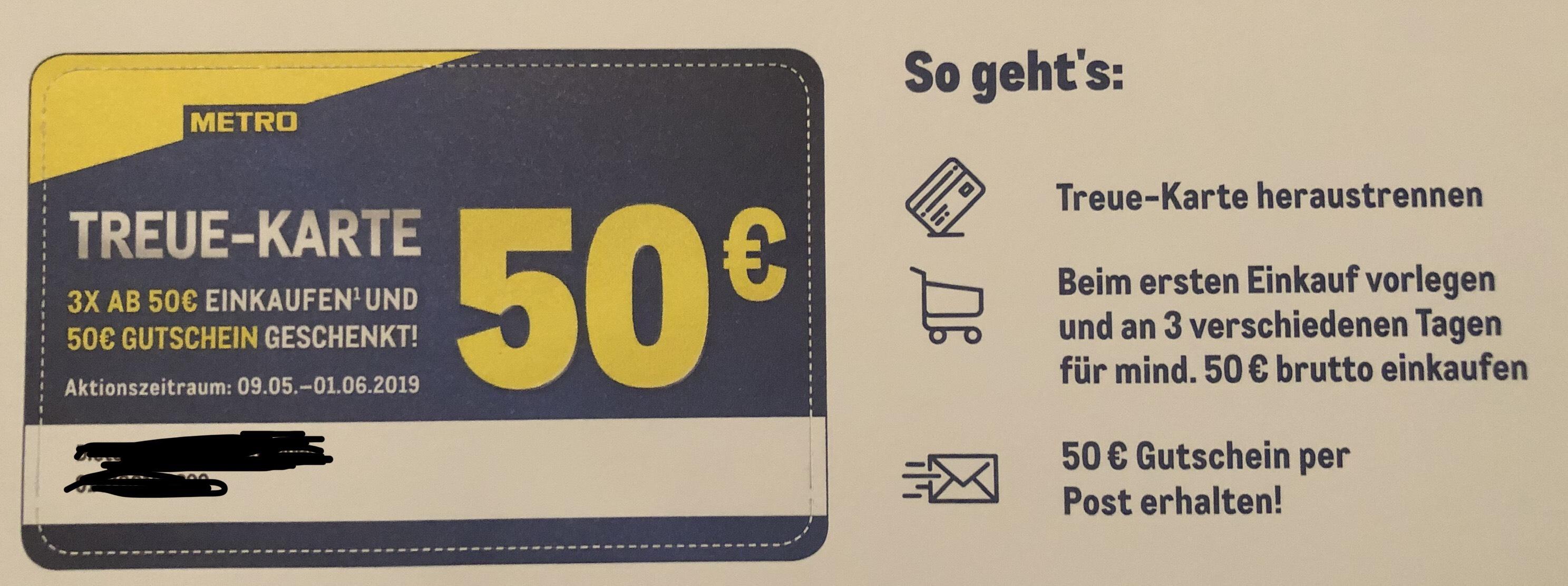 Metro 50€ geschenkt für 155€ Einsatz/ Umsatz bzw. 200€ AMAZON Guthaben möglich