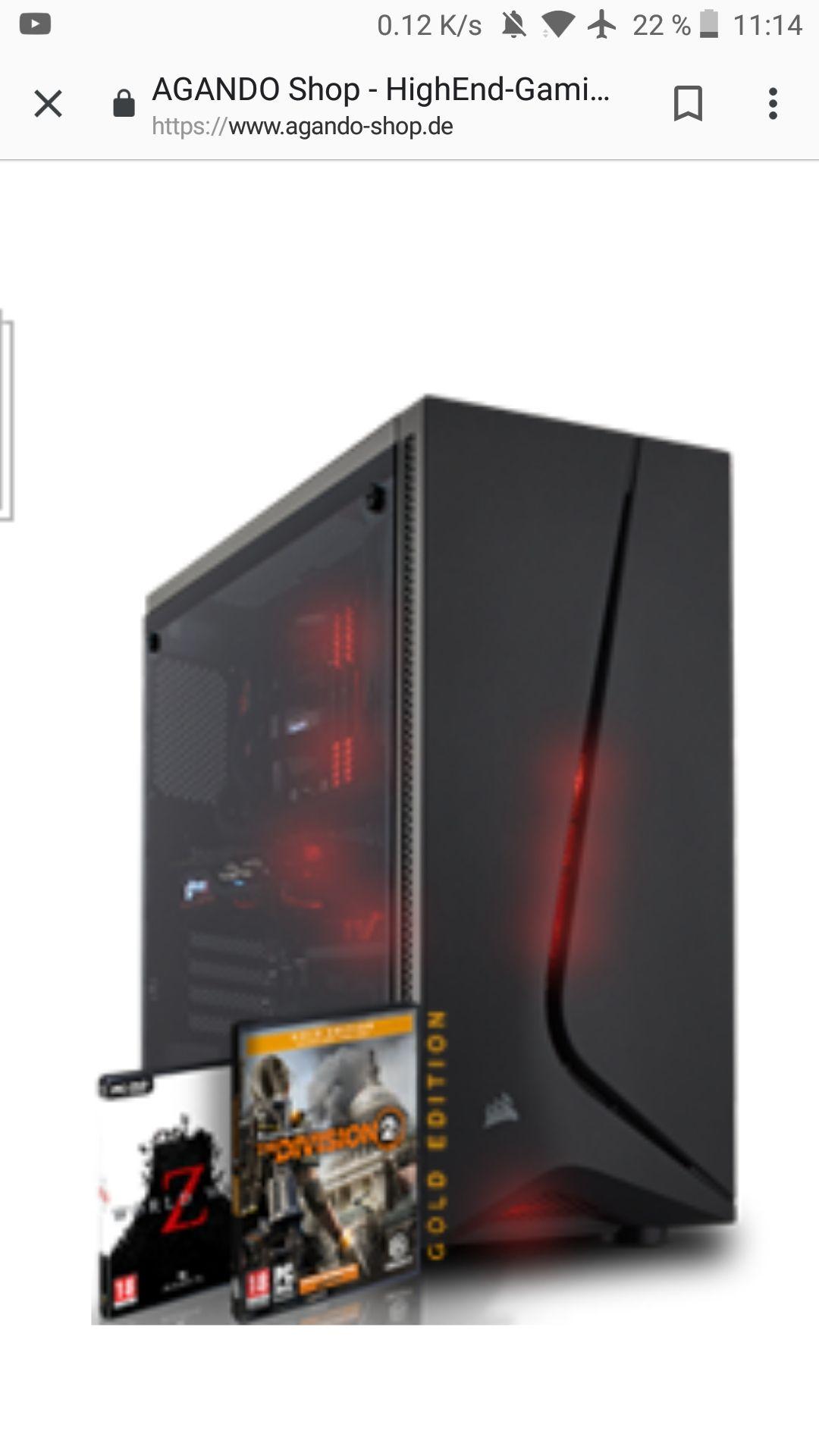 Gaming PC, RYZEN 5 2600, RX 580 8GB, 16 GB DDR4 RAM, 120GB SSD , 1TB HDD, 450W Corsair Netzteil Win10 INCL. Division 2 gold ed.&World War Z