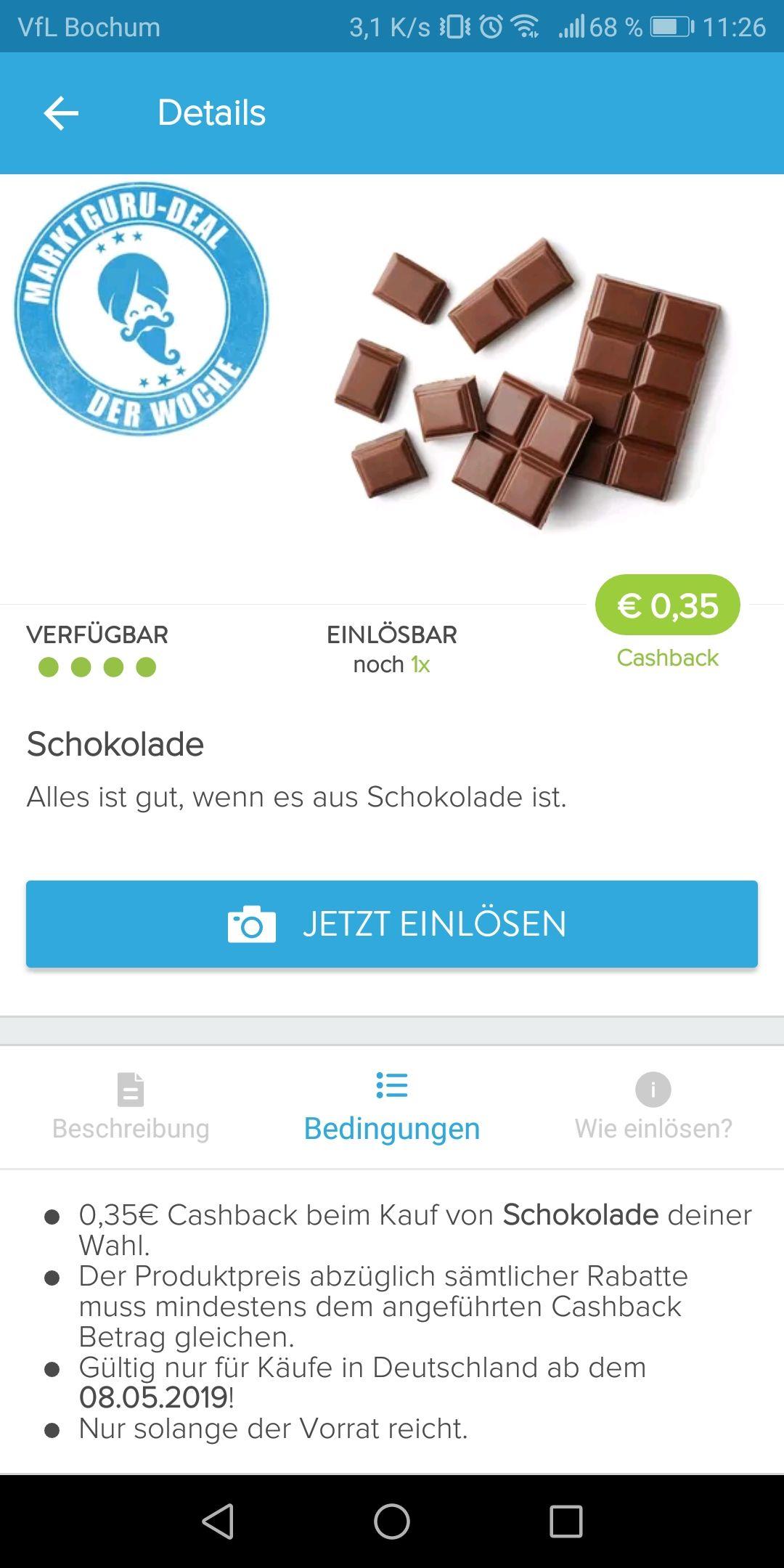 0,35€ Cashback auf Schokolade über die Marktguru App