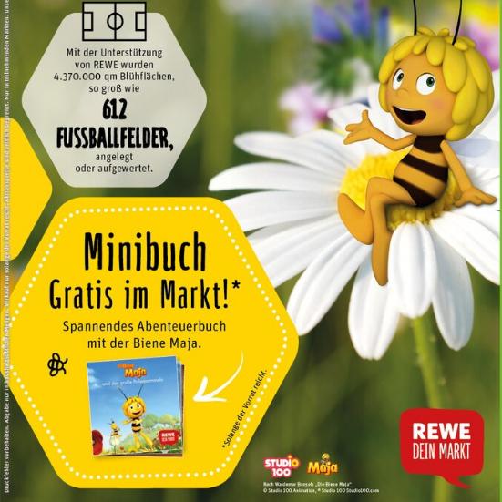 Gratis Abenteuerbuch mit der Biene Maja & Blühsamen zum Selbersäen bei Rewe ab 20.05.