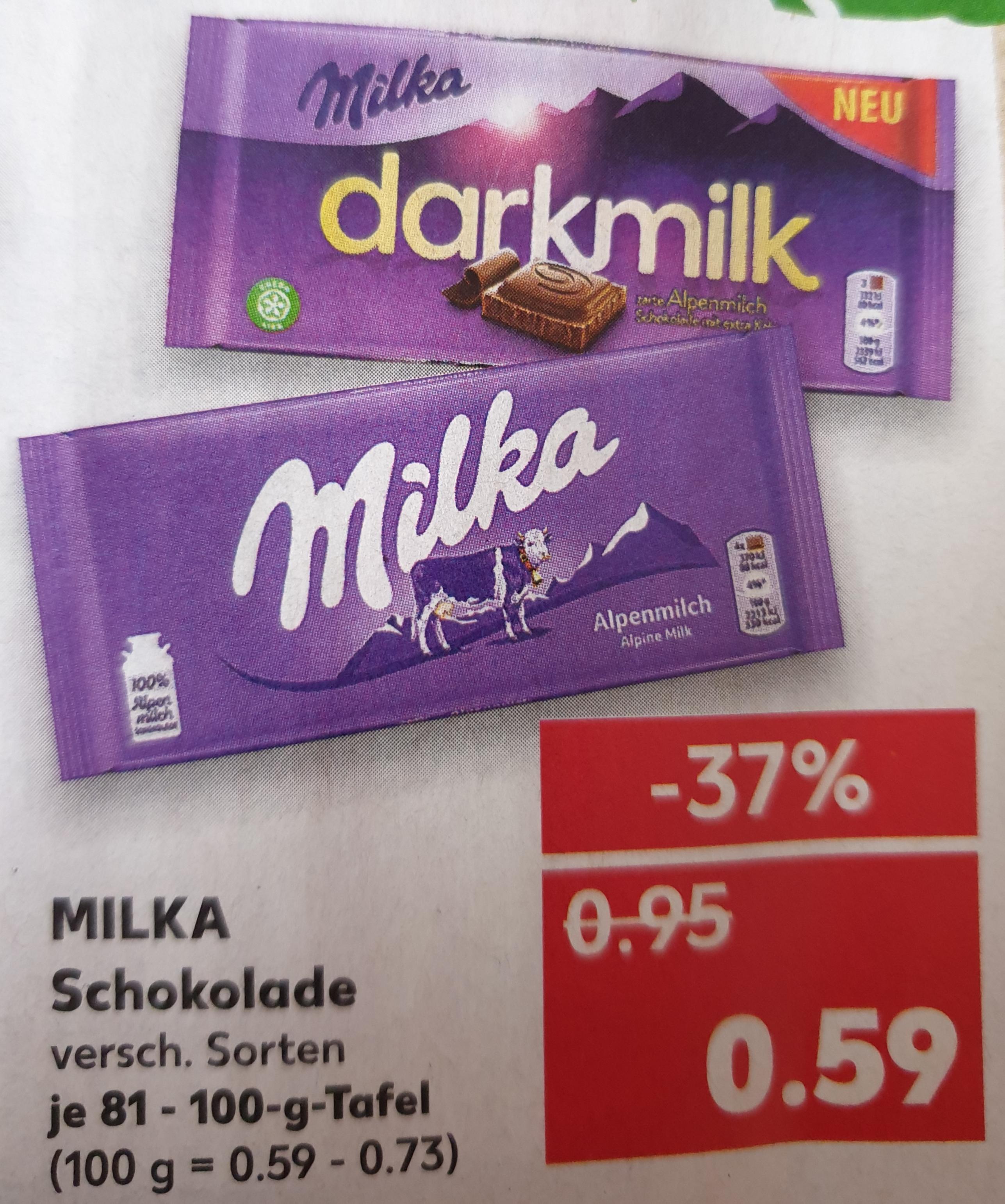 [ Kaufland / Marktguru ] Milka Schokolade verschiedene Sorten ( 13.05-15.05.19 ), mit Cashback nur 0,24€
