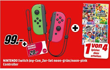 [Mediamarkt] Nintendo Switch Joy-Con 2er-Set  + 1 Spiel aus 4  (zb. Super Smash Bros. Ultimate ) für 99,-€ inc.20€ Mydays Gutschein