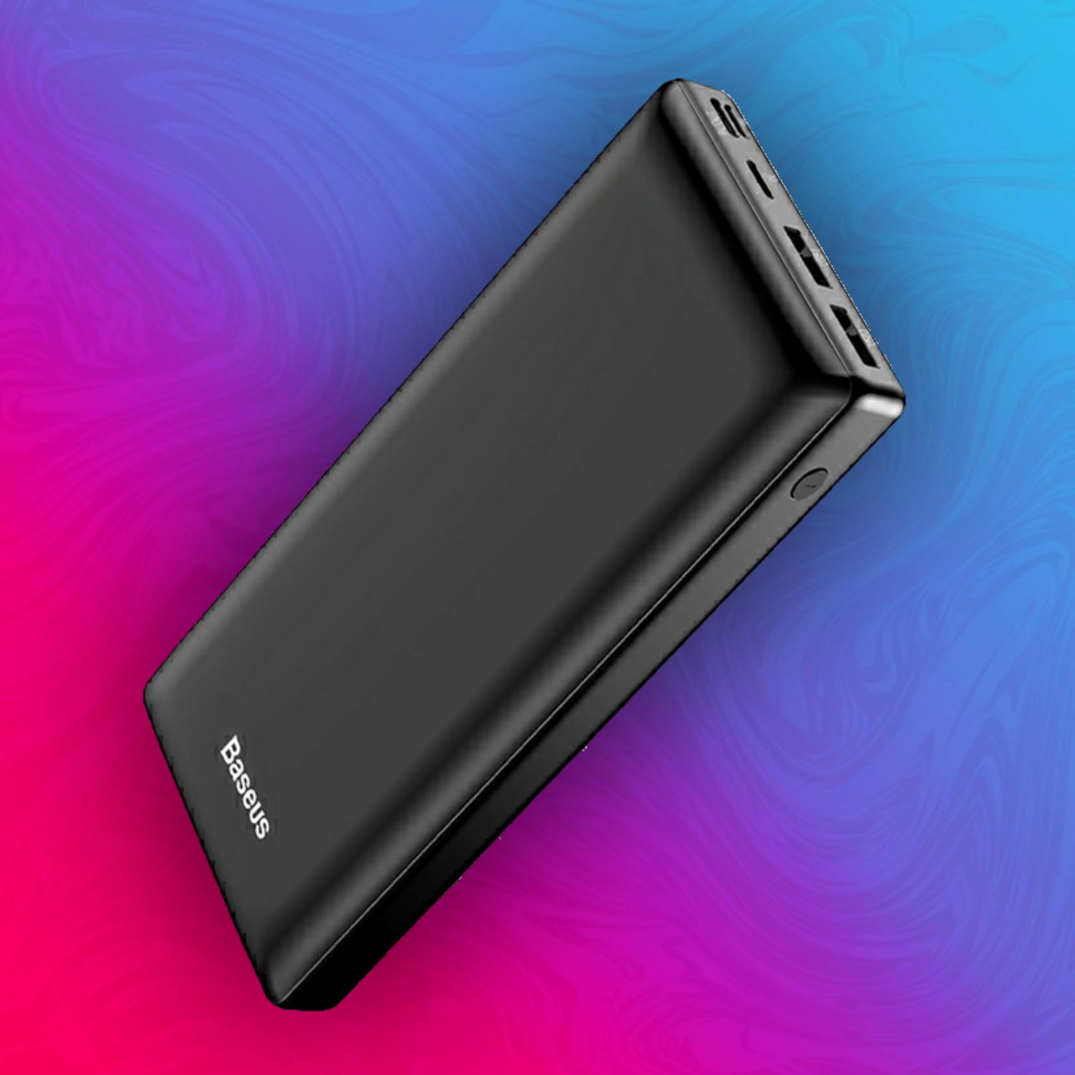 Baseus 30000mAh Powerbank - Power Delivery - 1x Typ C (3A) + 2x USB (2.4A, 1A) - Input: Typ C, Micro USB, Lightning