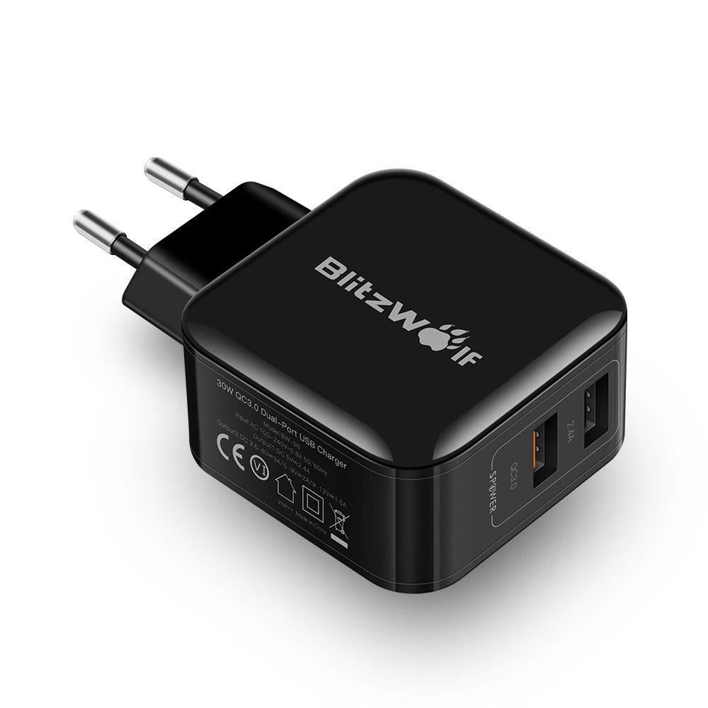 BlitzWolf BW-S6 Dual USB Ladegerät EU-Adapter, QC3.0+2.4A 30W