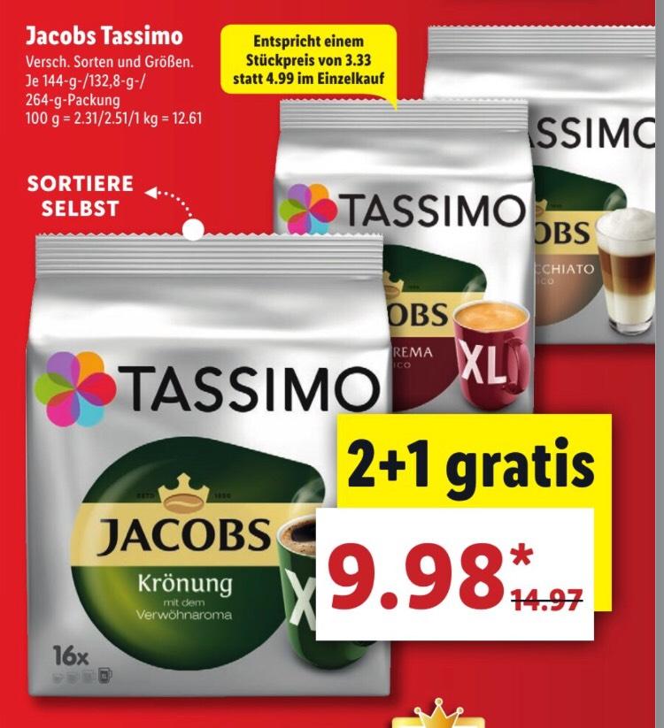 [LIDL] Jacobs Tassimo 3 Packungen - 9,98€
