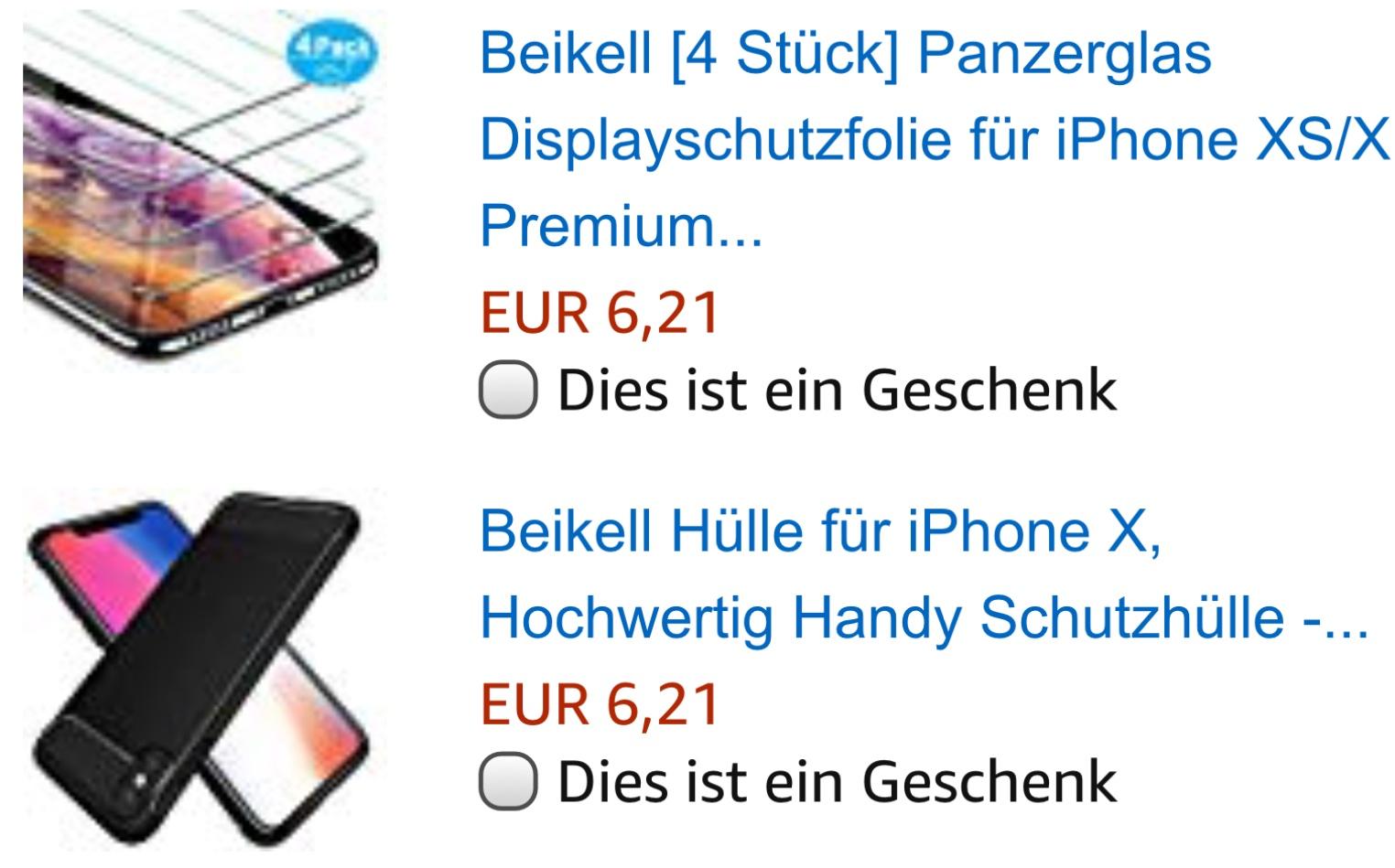 [Amazon Prime] iPhone X BEIKELL 4x Panzerglas Folien plus schw. TPU Case