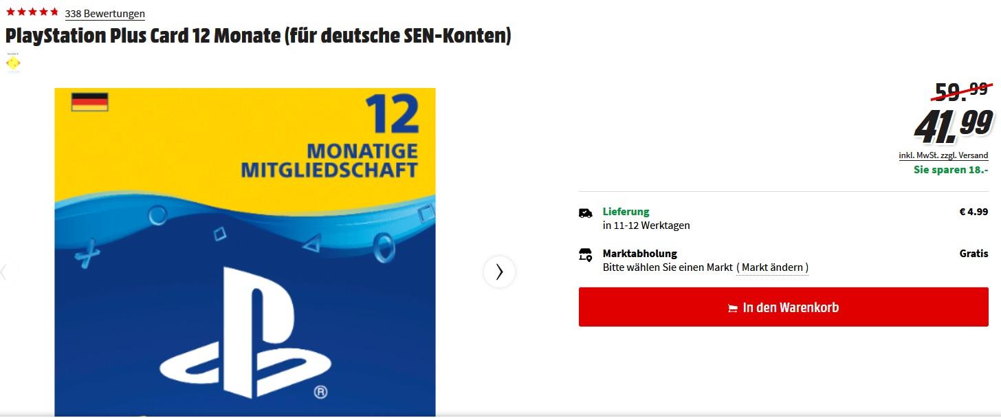 PlayStation Plus Card 12 Monate (DE) für 41,99€ @ Media Markt online (Selbstabholung)