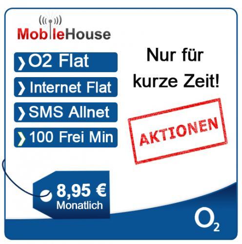 O2 Clever 100 + O2-Flat + 100 Frei-Minuten + SMS-Flat + Internet-Flat nur 8,95€