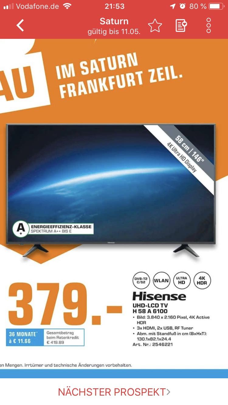 (Lokal Frankfurt Zeil Saturn)Hisense H58A6100 LCD-LED Fernseher (146 cm / (58 Zoll), 4K Ultra HD, Smart-TV