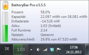 [Windows] BatteryBar Pro 50% Rabatt
