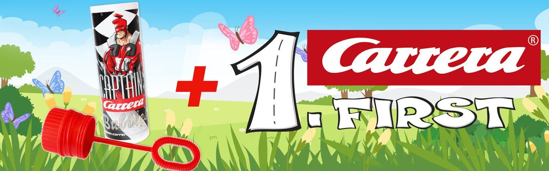 Für jedes Carrera FIRST Set gibt es eine Captain Carrera Seifenblasen Flasche gratis!