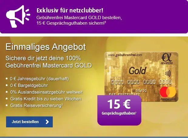 15€ Geschenktes Netzclub Guthaben gegen Bestellung einer kostenfreien Mastercard Gold