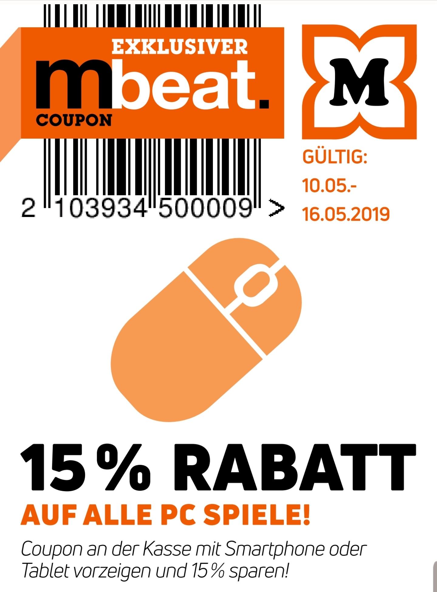 15% Rabatt auf alle PC Spiele [ab 10.05. Müller Offline]