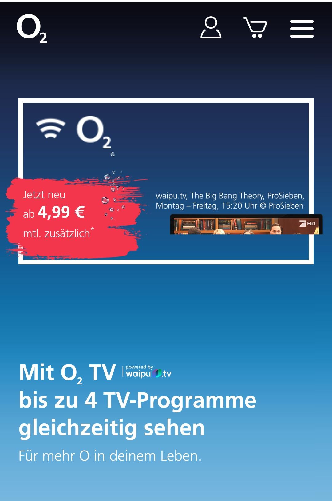 O2 TV - online TV mit Waipu TV