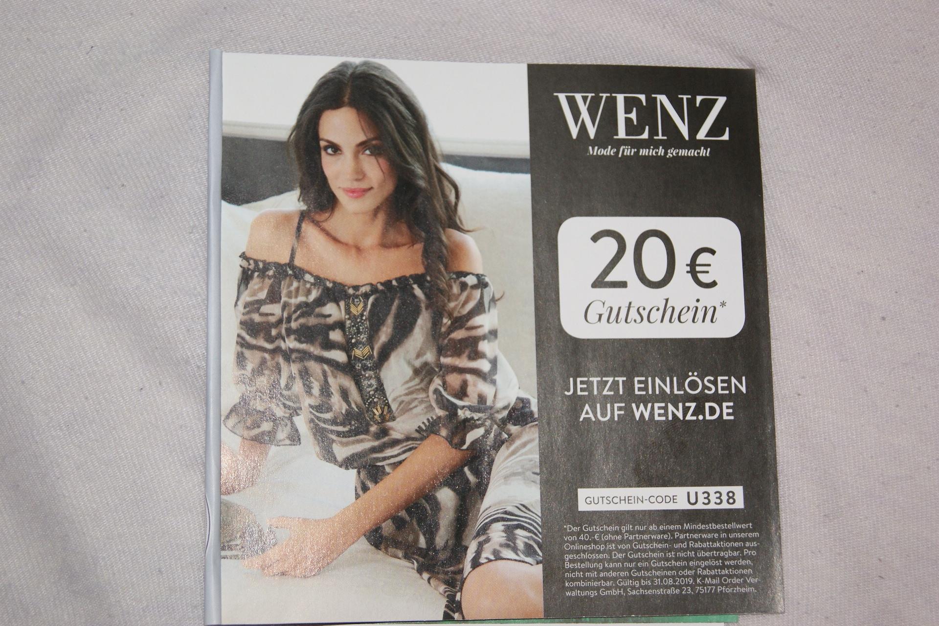 20 Euro Rabatt ab 40 Euro Warenbestellungen bei Wenz.de