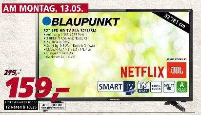 [Real-Nur am 13.05 auch Online und Versandkostenfrei]Blaupunkt HD LED TV 81cm (32 Zoll) BLA-32/138M, Smart TV, Triple Tuner