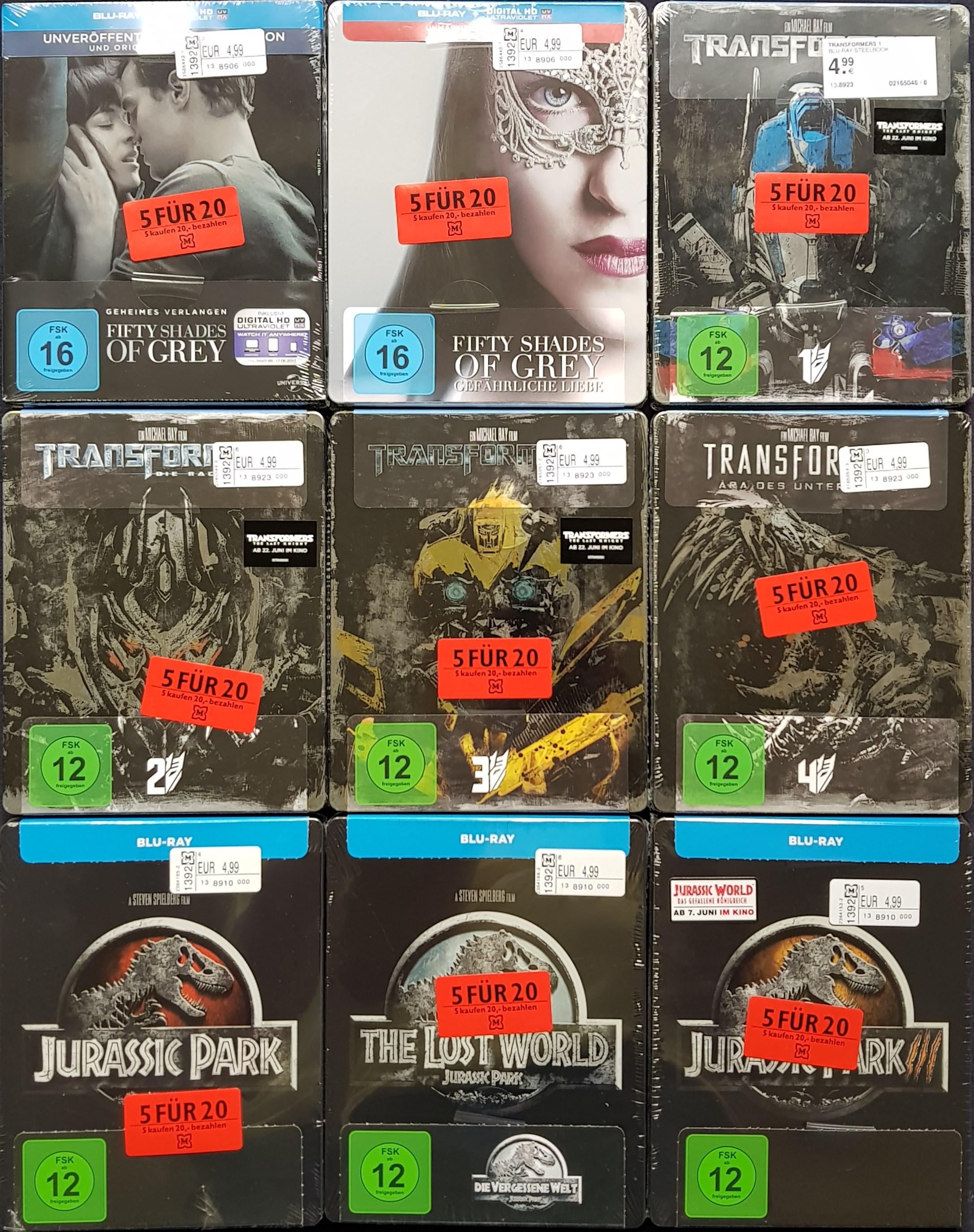 """SAMMELDEAL MÜLLER LOKAL: """"5 FÜR 20€""""-Aktion mit ausgewählten Blu-ray Steelbooks (u.a. Die Mumie, Jurassic Park uvm.) - Einzelpreis je 4,99€"""