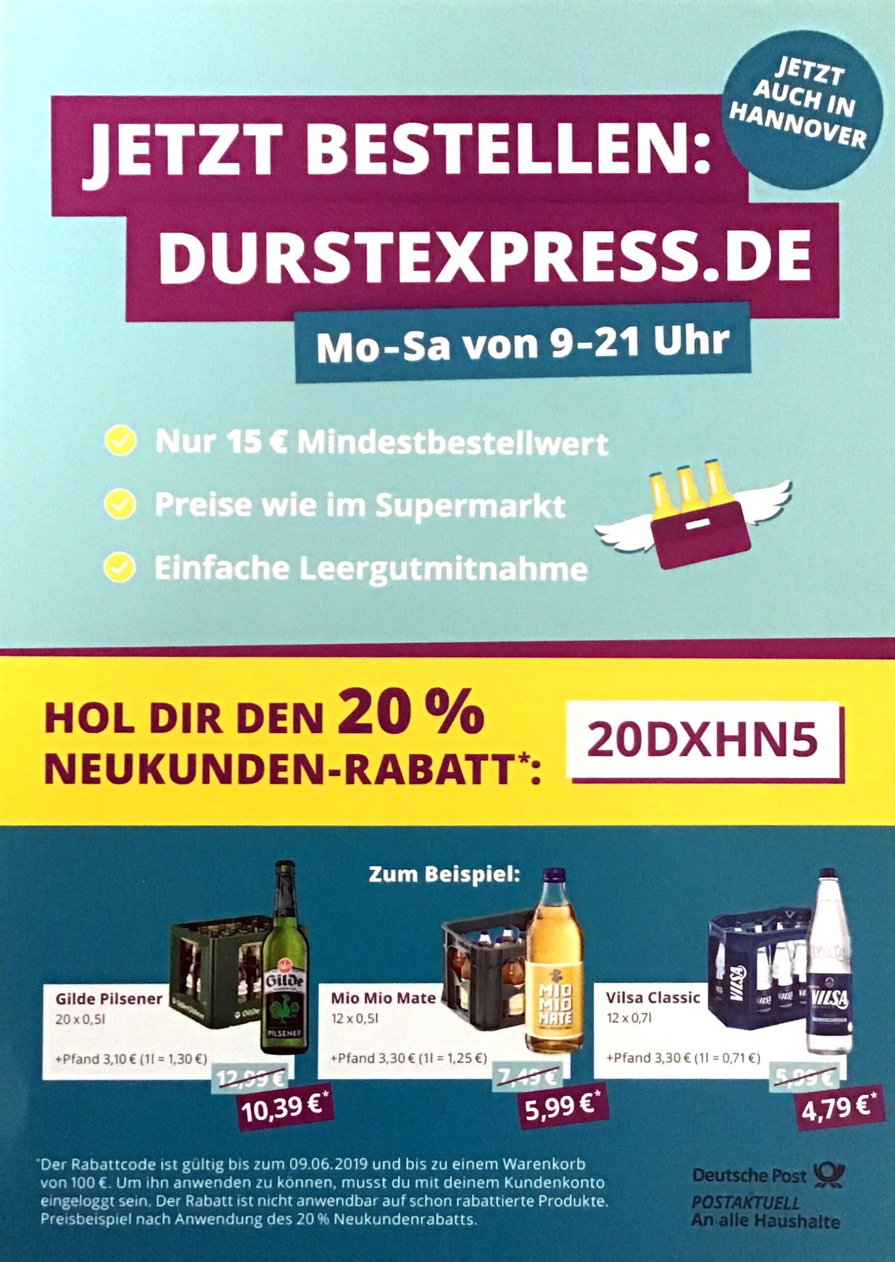 (lokal Hannover) Durstexpress.de-Lieferdienst 20% bis 100€