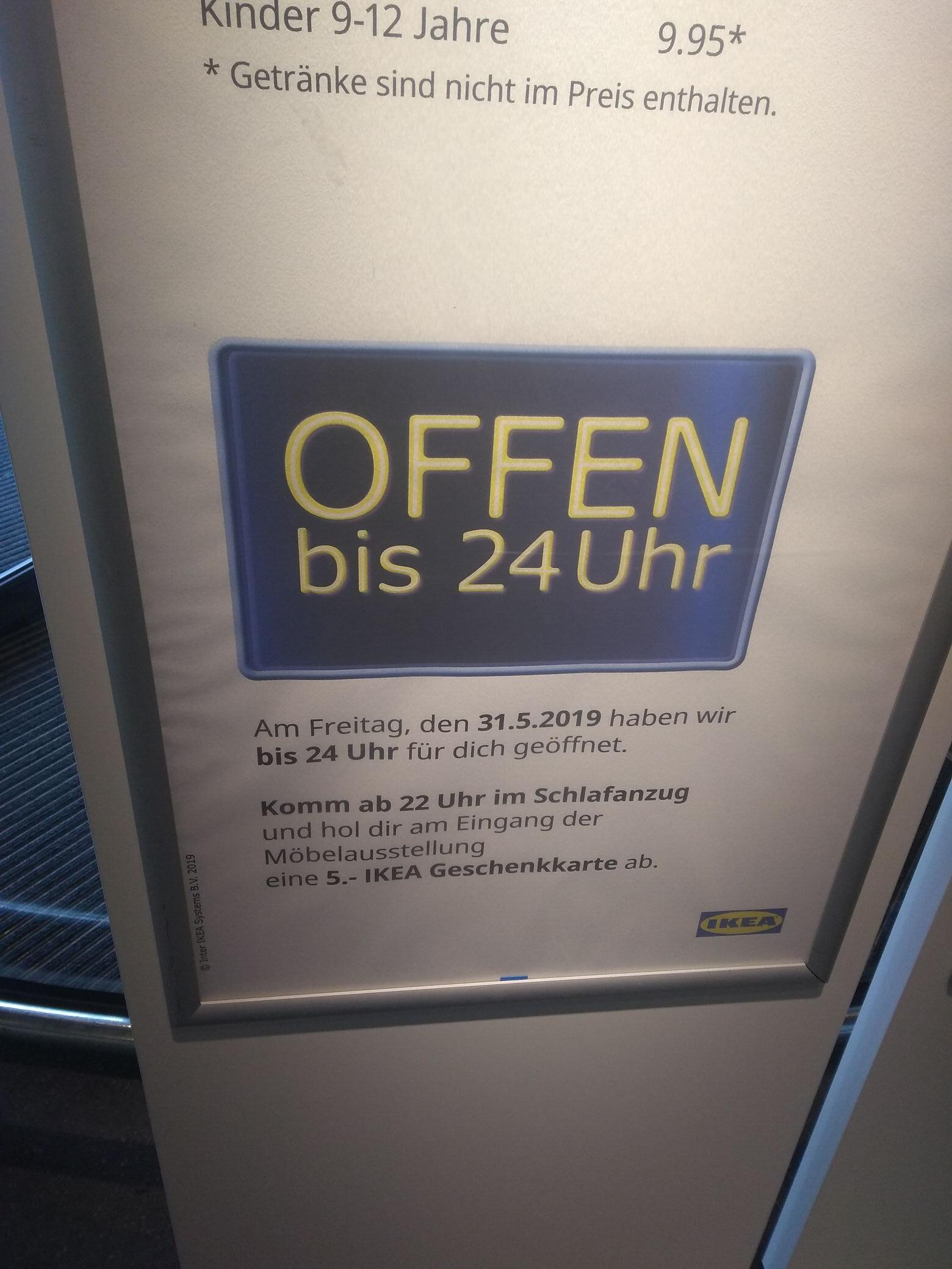[Lokal IKEA Bielefeld] [31.05] Latenight Shopping-Ab 22:00 Uhr 5€ Gutschein wenn man im Schlafanzug kommt