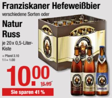 Franziskaner Hefeweißbier (versch. Sorten) oder Natur Russ, 20 x 0,5l Kasten für 10 € (zzgl Pfand) @ V-Märkte Muc/Oberbayern ab 16.05.