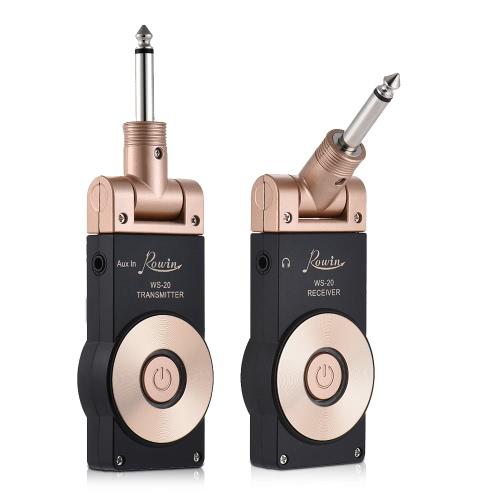 Kabelloses Gitarren-Übertragungssystem Rowin WS-20 (bis 30m Reichweite, 1100 mAh-Akku, 180° drehbarer Stecker)