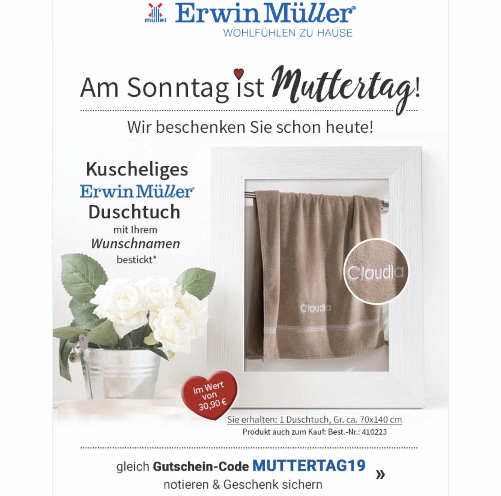 Erwin Müller - Duschhandtuch mit Wunschnamen bestickt (kostenlos zu einer Bestellung ab 30€)